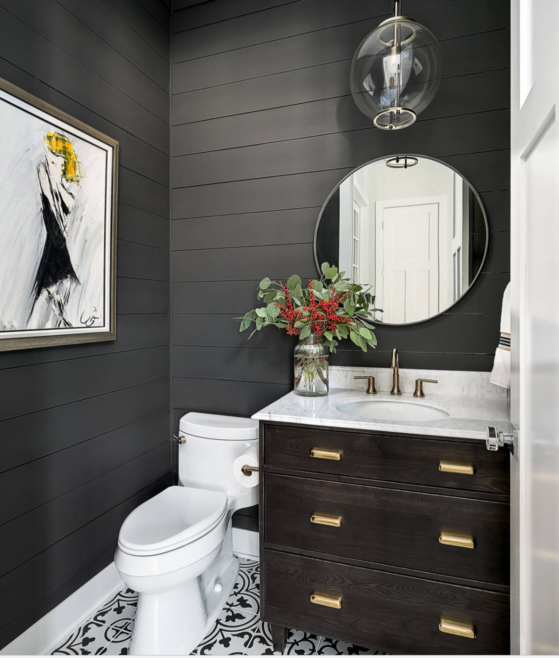 Gray Powder Room With Grey Grasscloth: Tips For Using Dark Moody Paint Colors