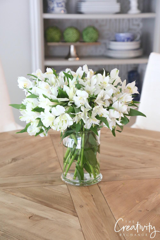 White Alstroemeria Lillies.