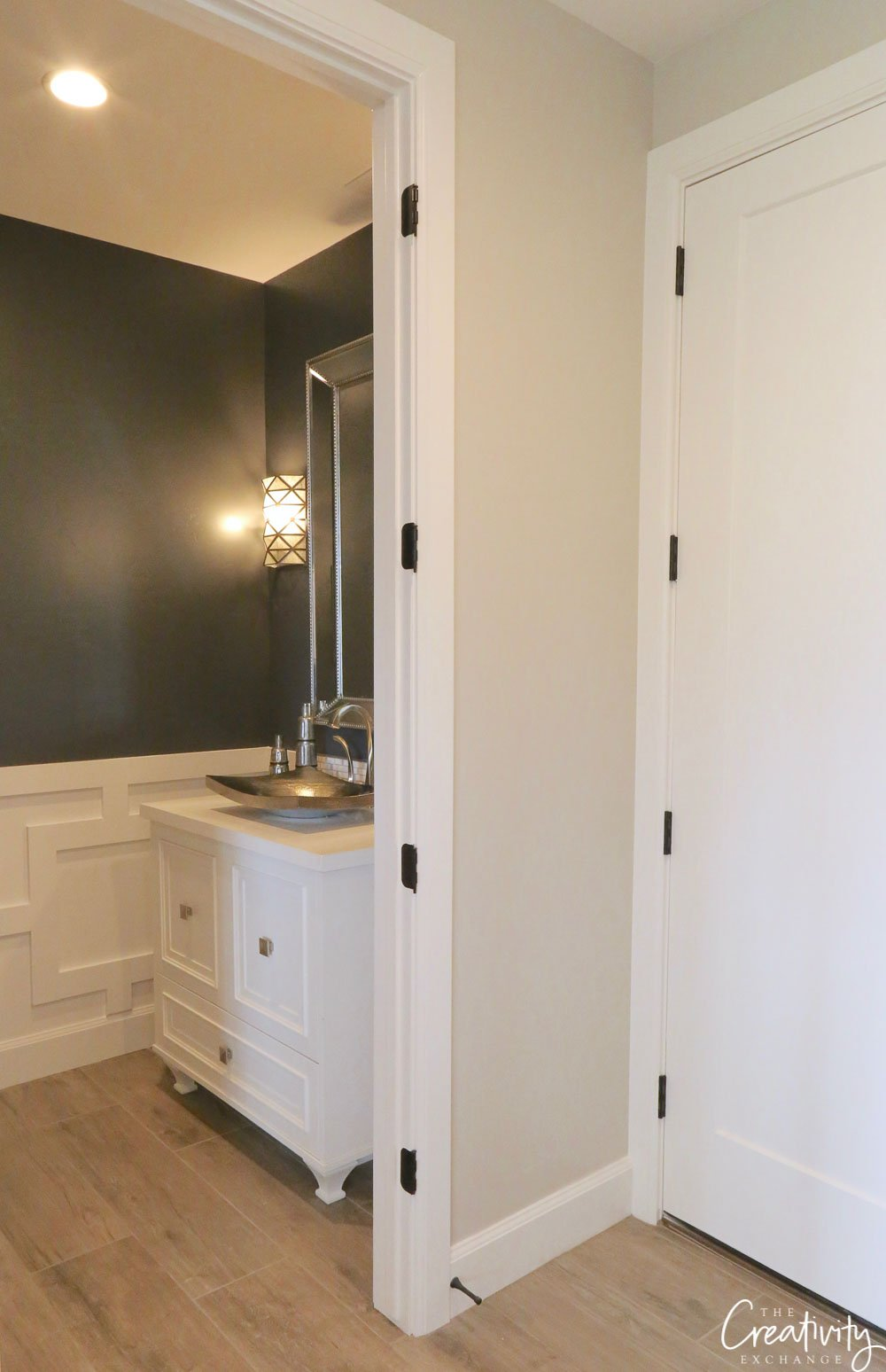 Wall color is Sherwin Williams Peppercorn.