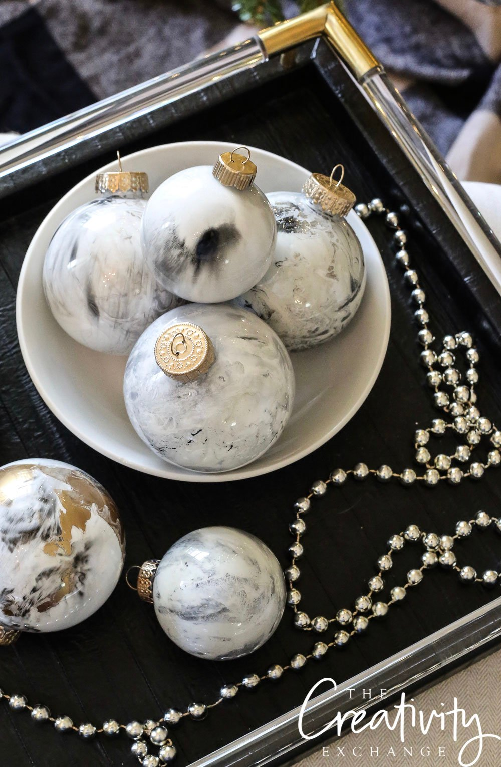 DIY Marbleized Ornaments Using Testors Paints