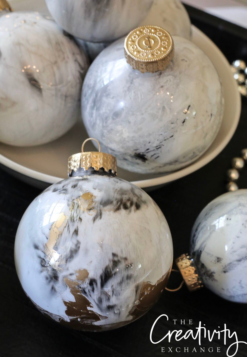 DIY Marbleized Ornaments