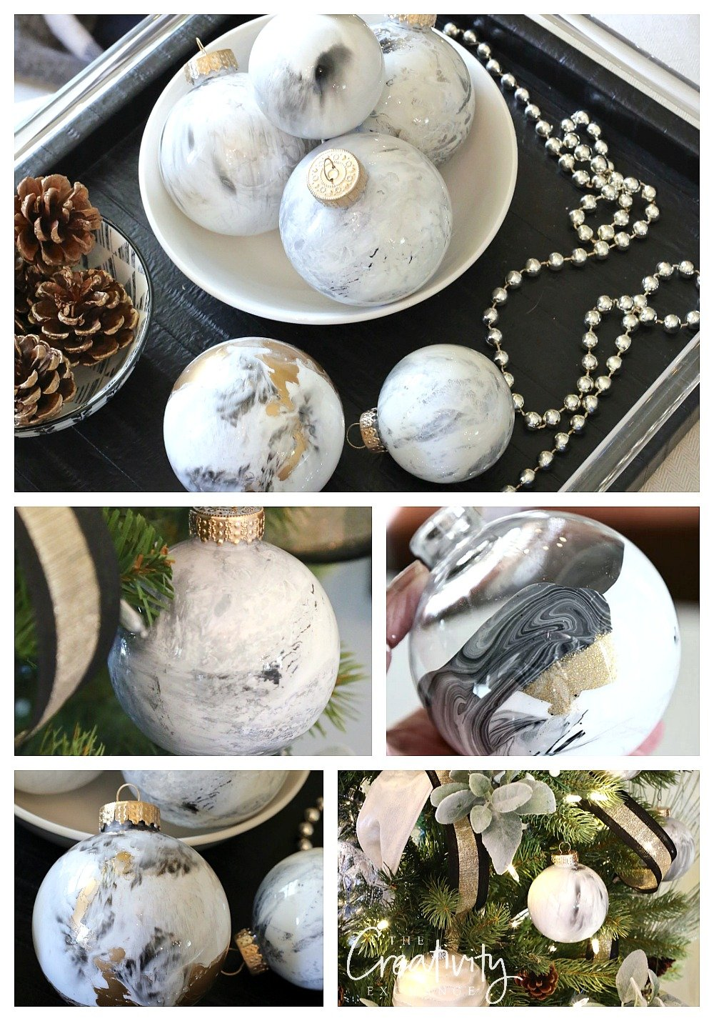 DIY Marbleized Christmas Ornaments