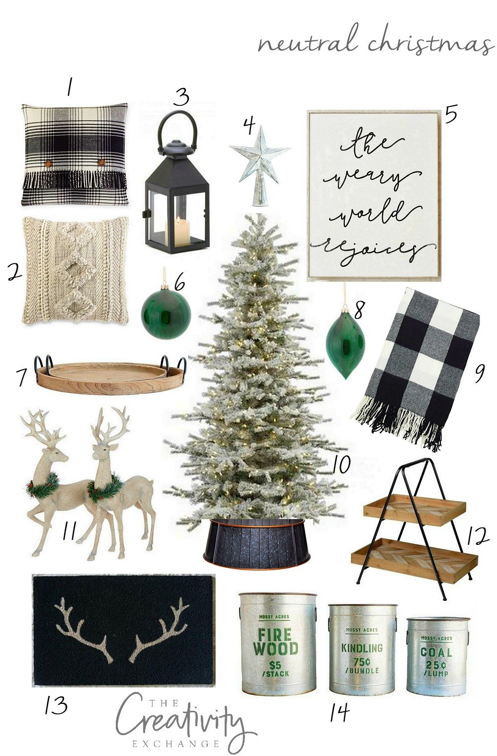 Neutral Christmas Design Board with Product Sources