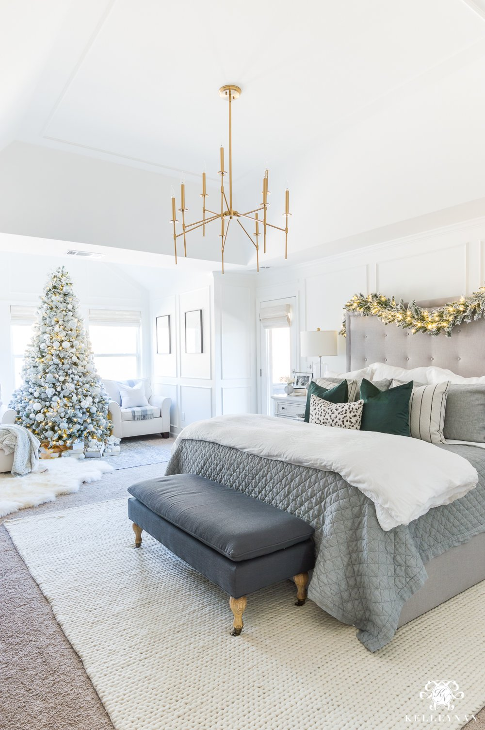 Silver-White-and-Green-Christmas-color-scheme-in-a-gray-bedroom