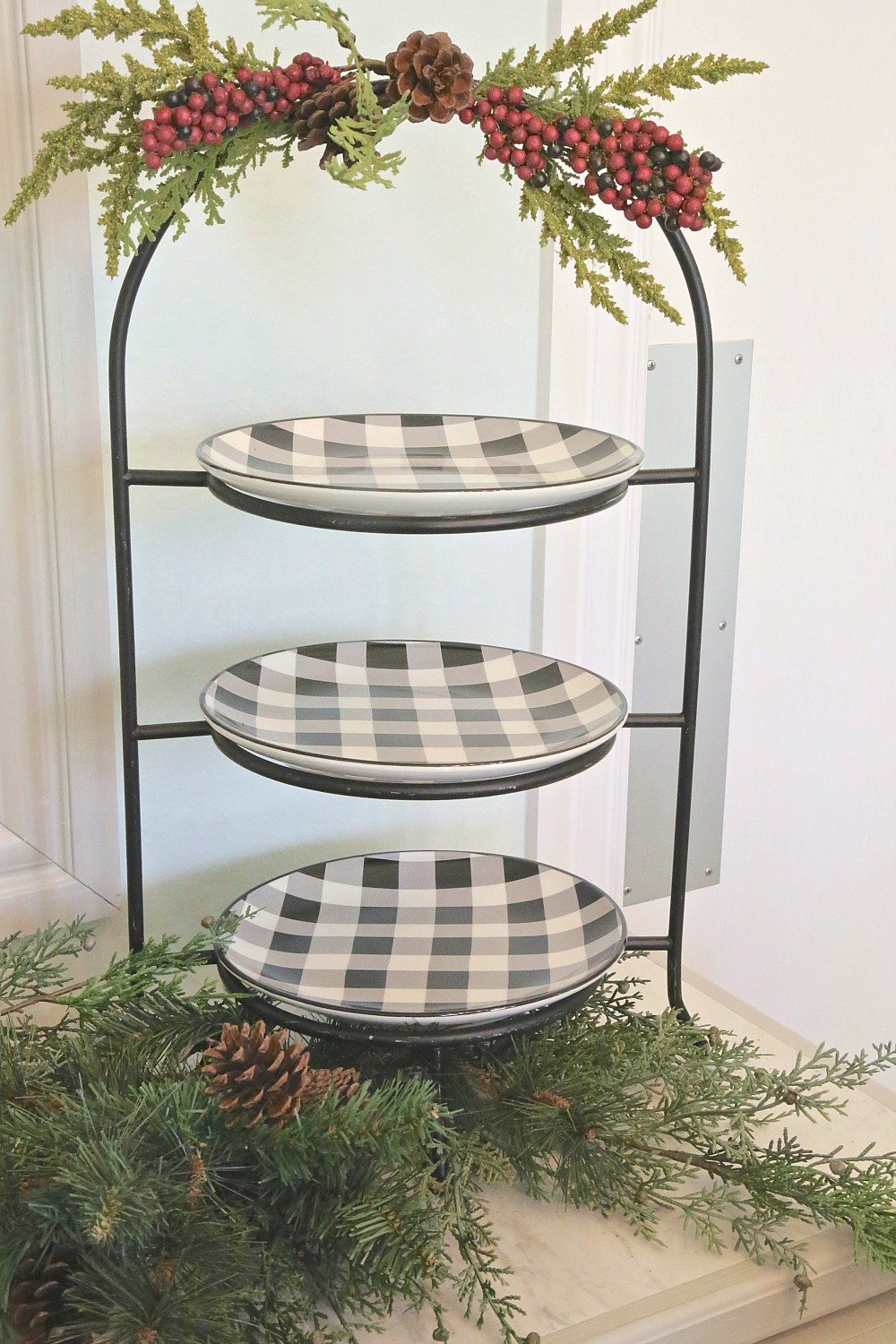 Tiered serving stand with plates