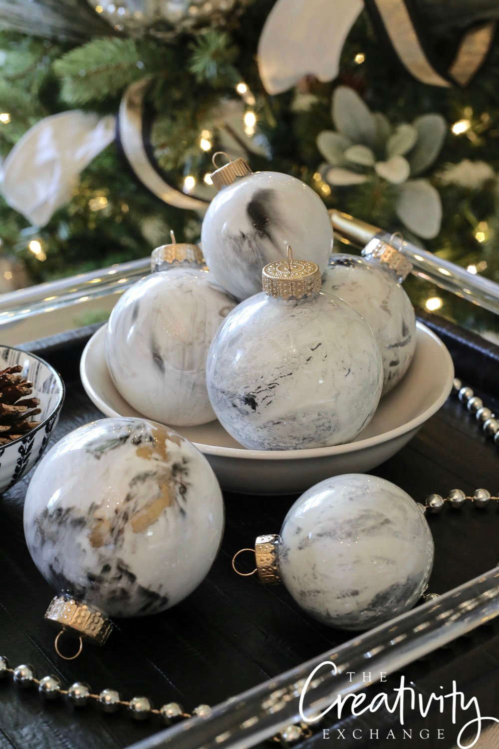 DIY Marbleized Ornaments Using Paint