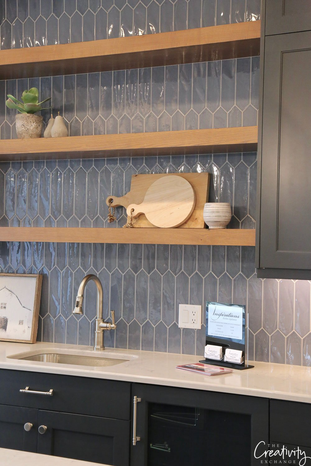 Navy tile kitchen backsplash