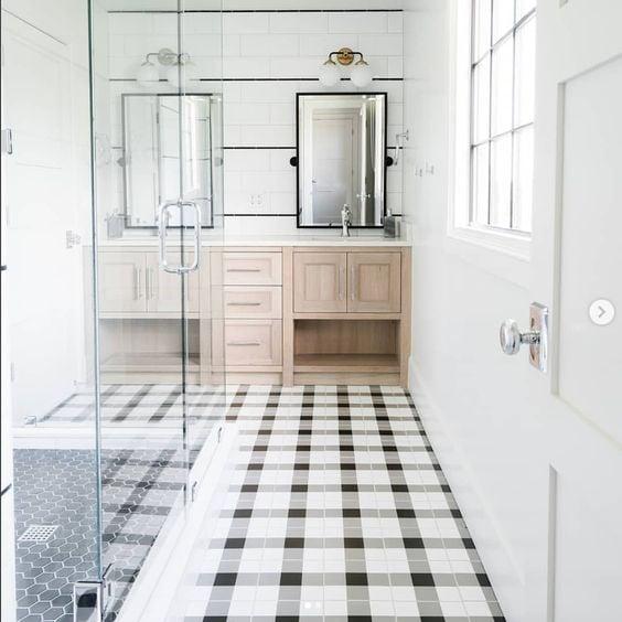 Plaid tile bathroom floor.