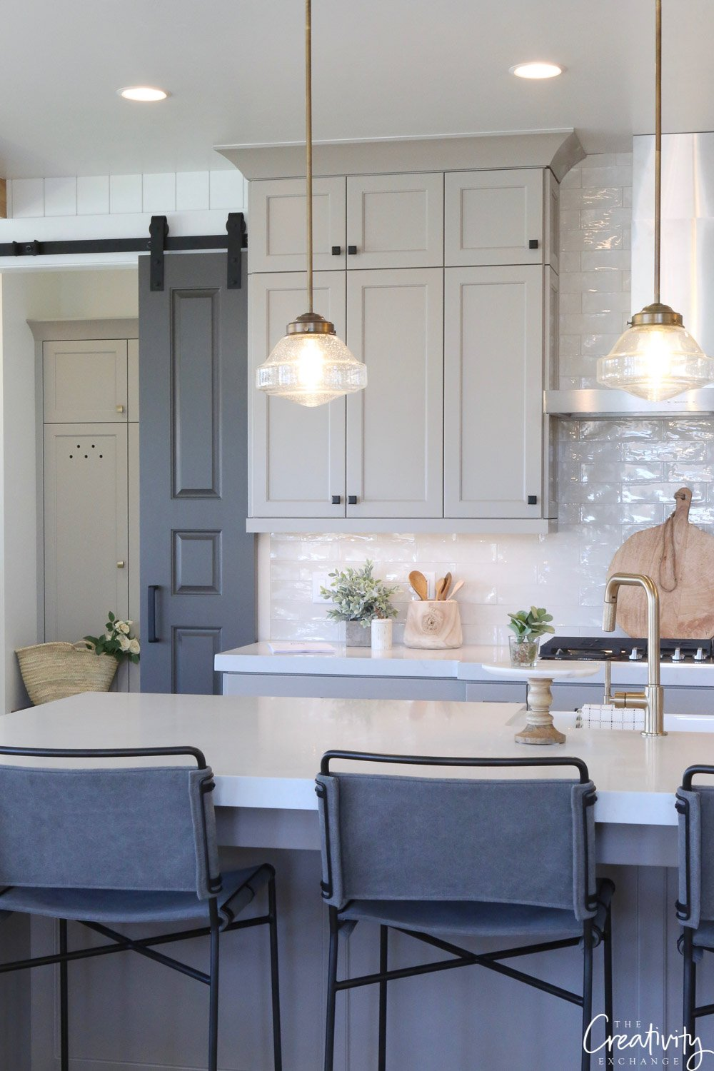 Repose Gray Cabinets Black Hardware