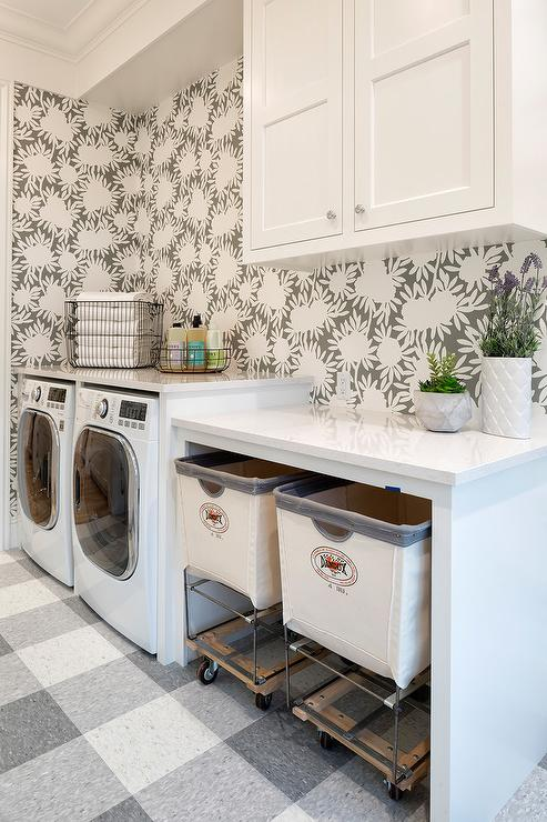 Gray plaid laundry room flooring