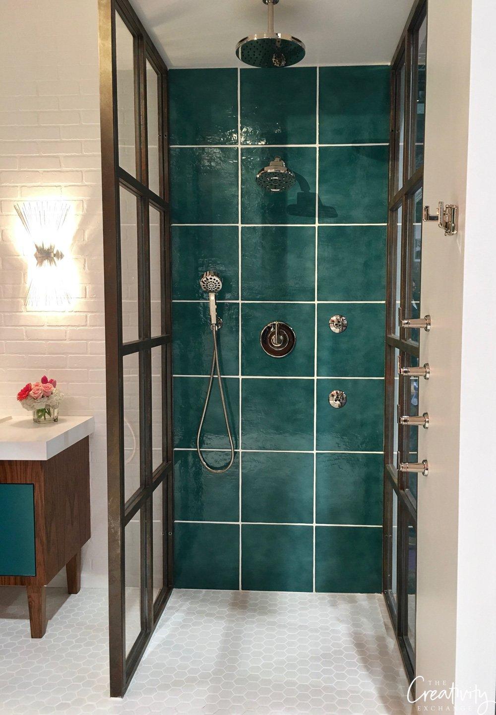 green shower tile