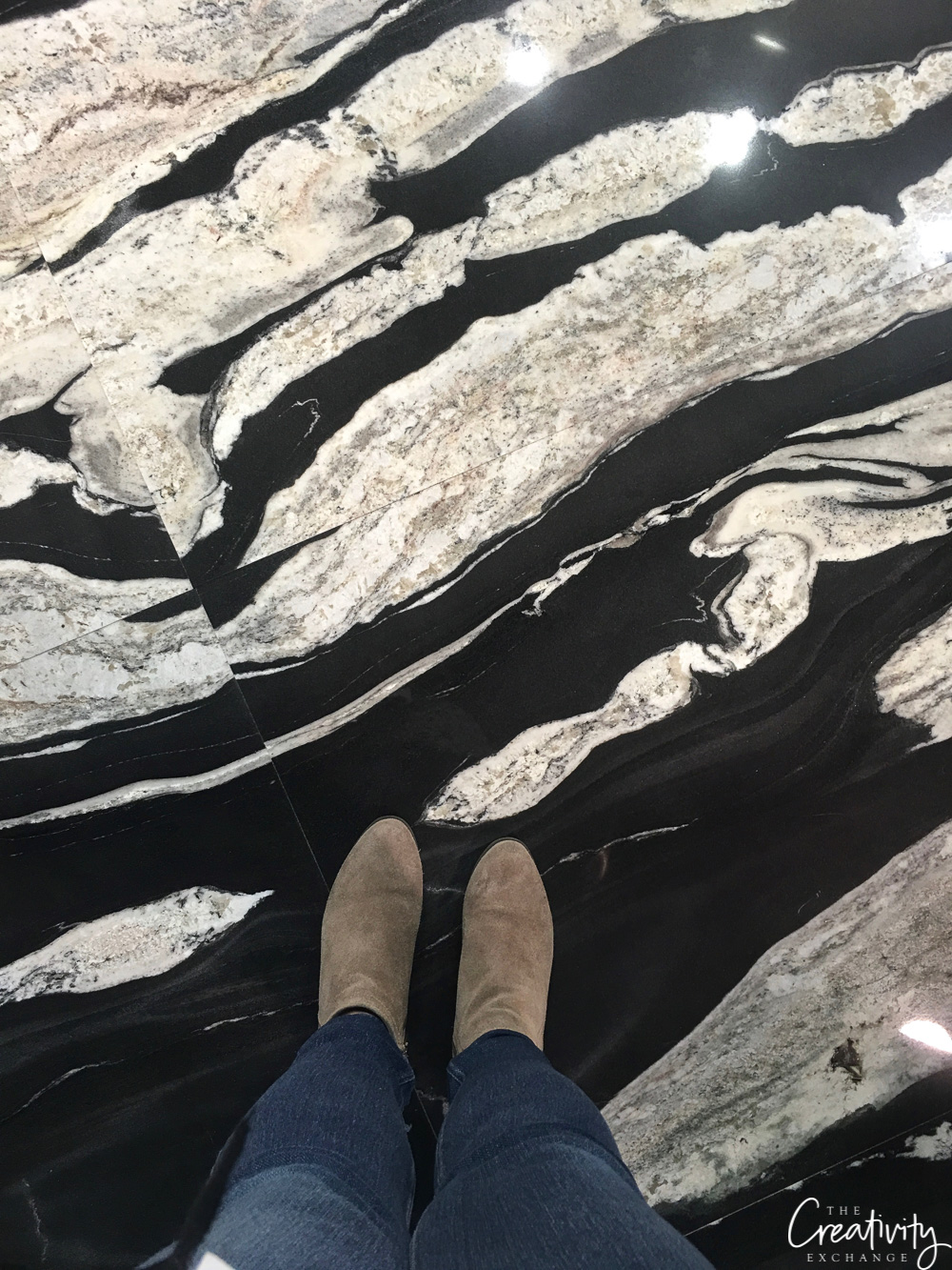 Black and white stone marble like flooring