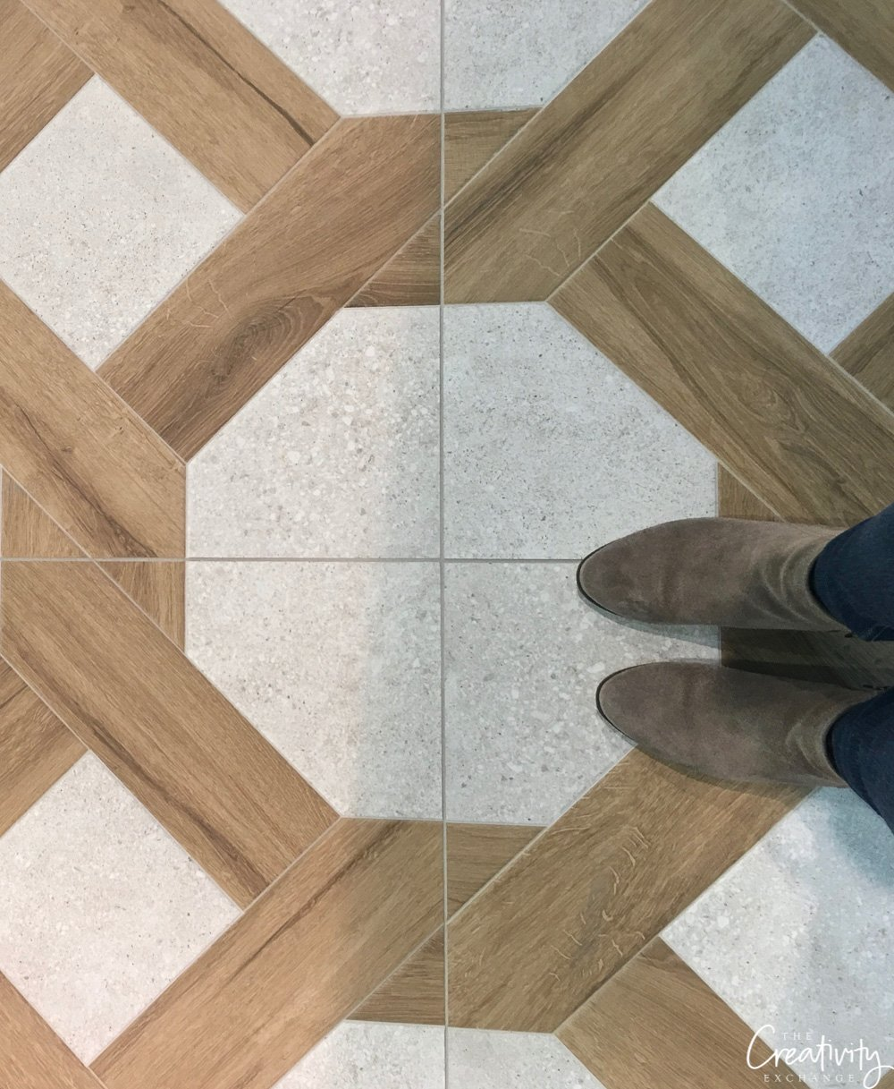 wood and terrazo cane tile floor