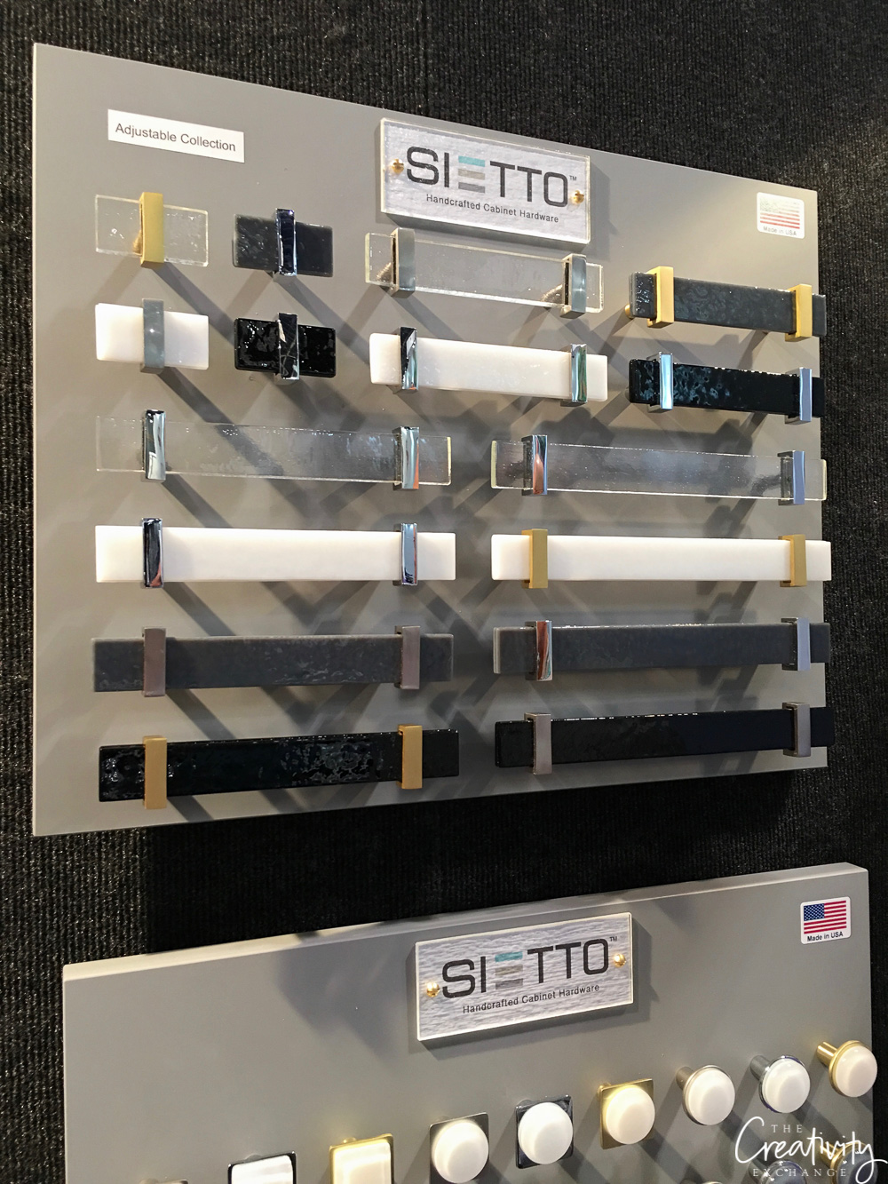 Sietto stone and glass drawer pulls and hardare