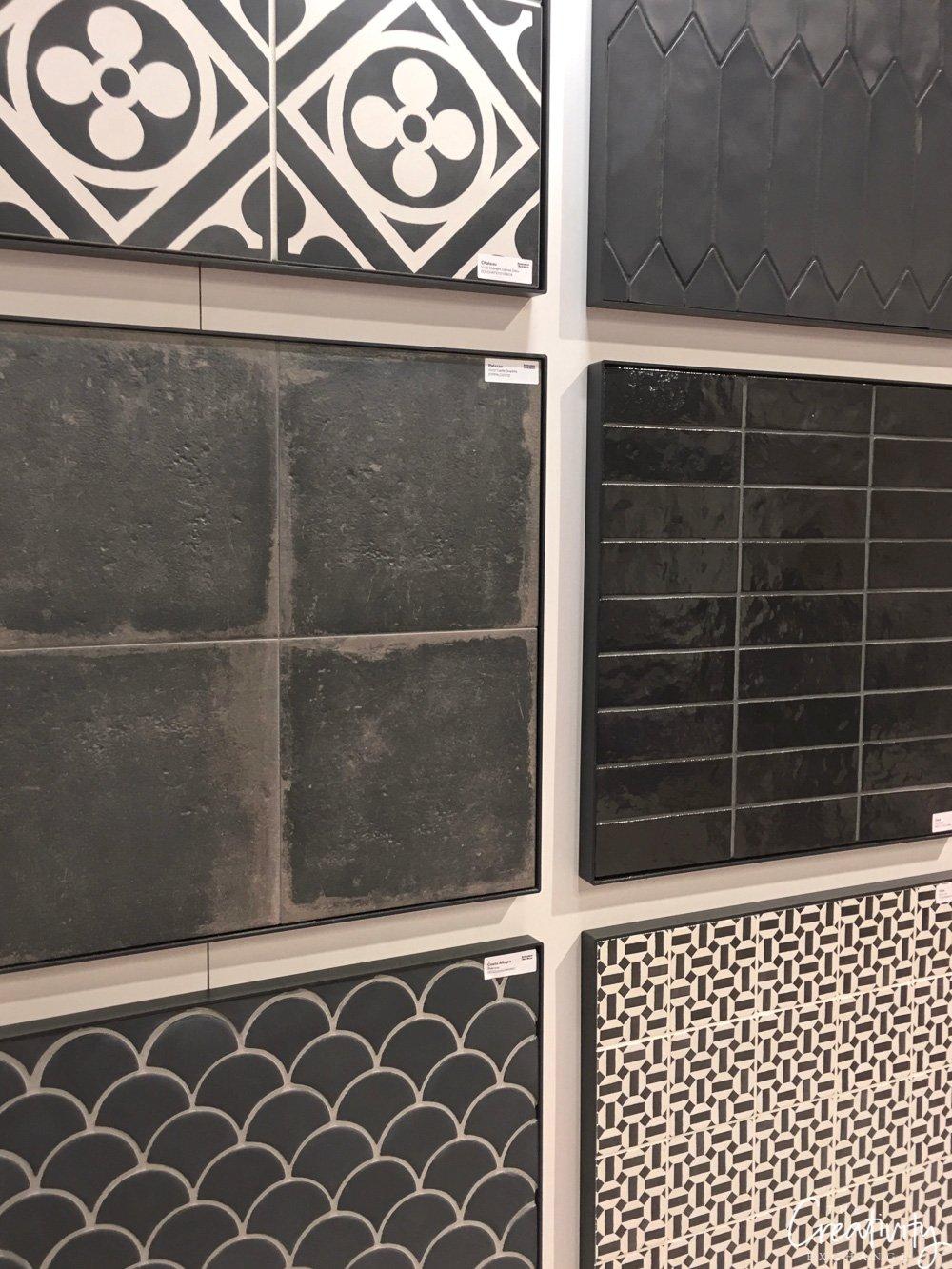 Matte black cement tile from Bedrosians