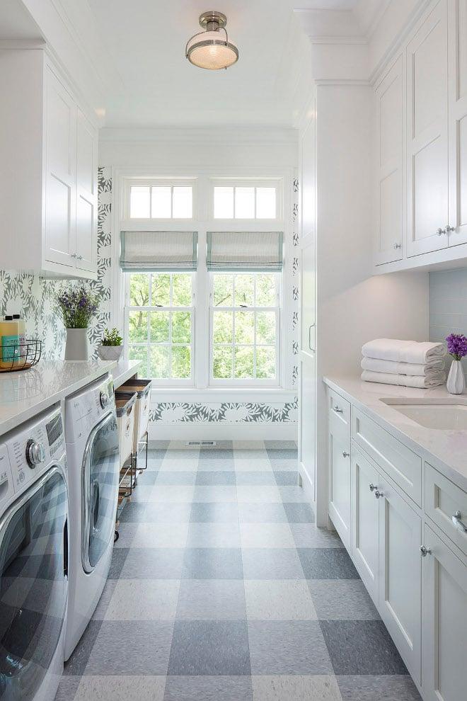 Laundry Room with Plaid Floors. Martha OHara Interiors