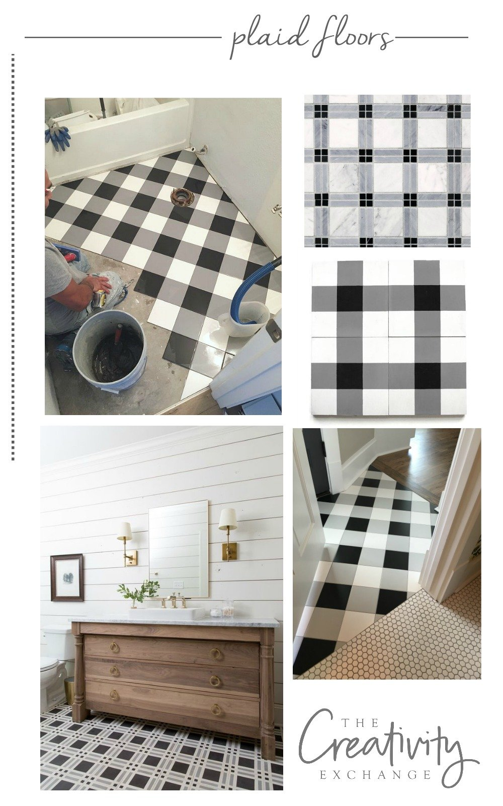 Laying a plaid floor using inexpensive options