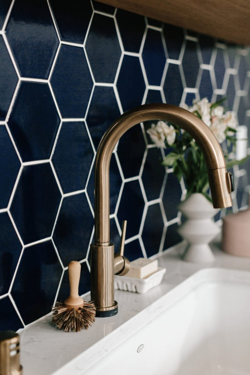 Navy hexagon tile