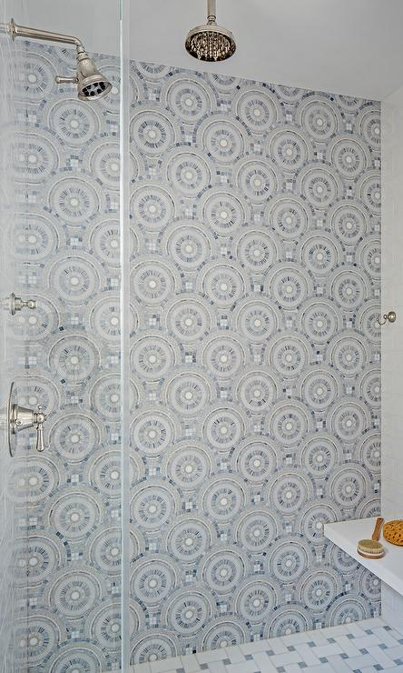 Navy patterned tiles in shower