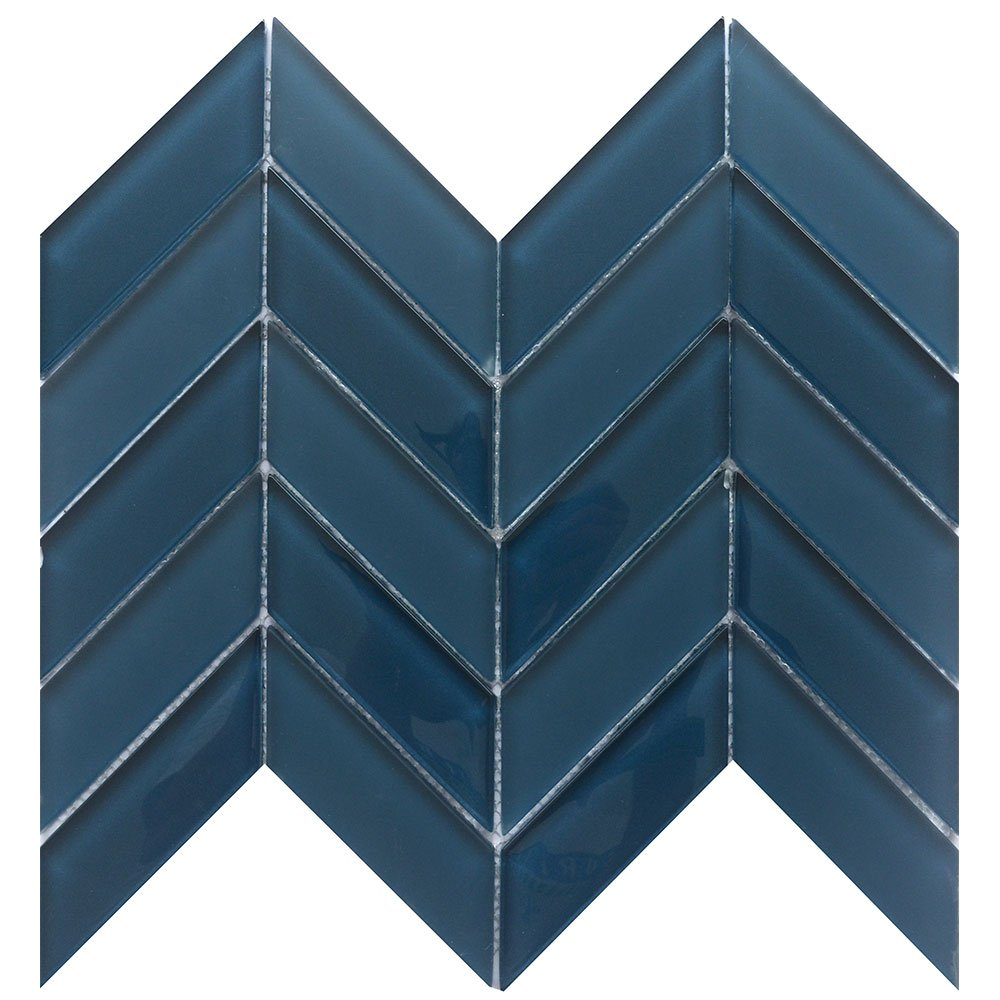 Navy herringbone tile