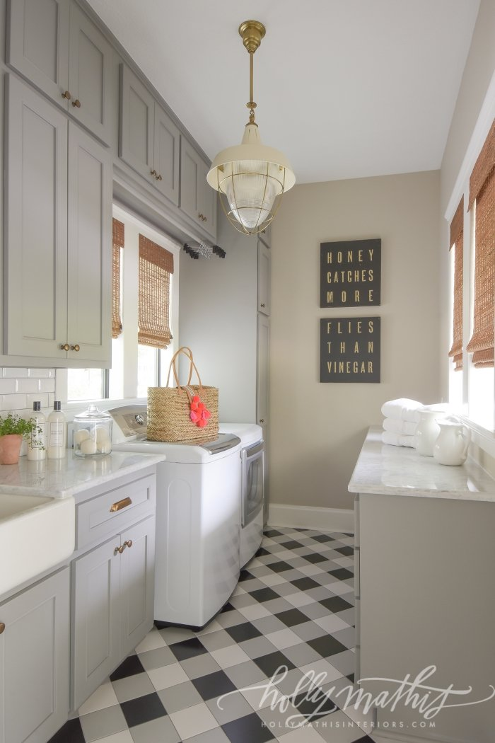 Plaid floors in laundry room. Holly Mathis Interiors