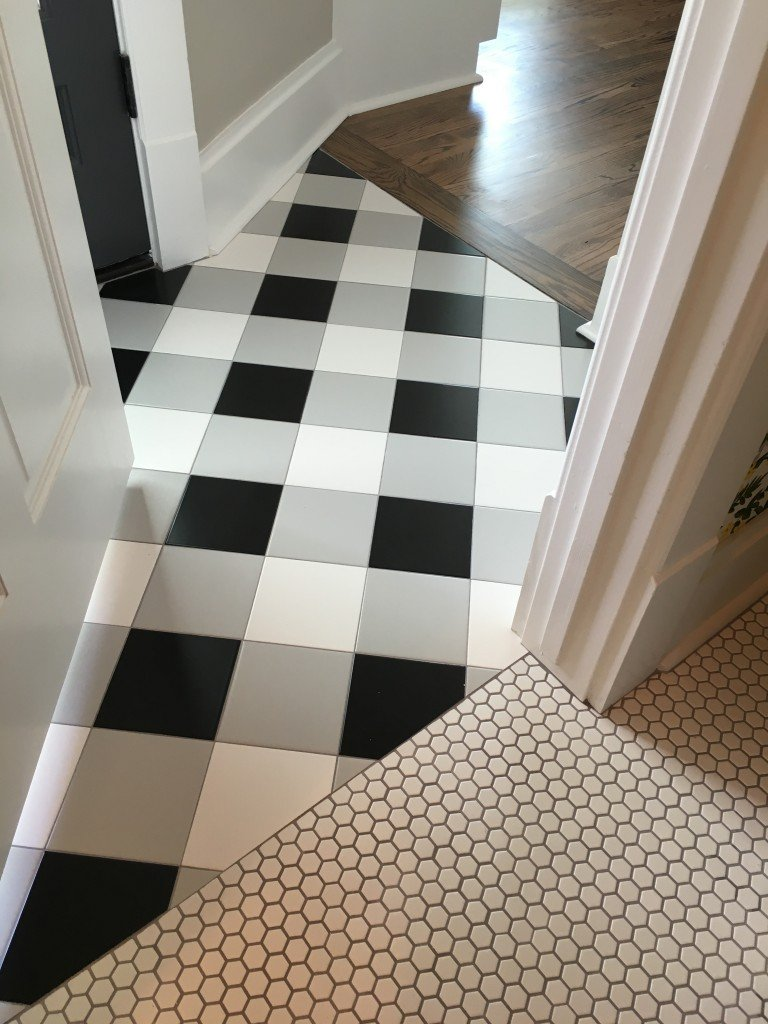 Plaid tile floor. Holly Mathis Interiors
