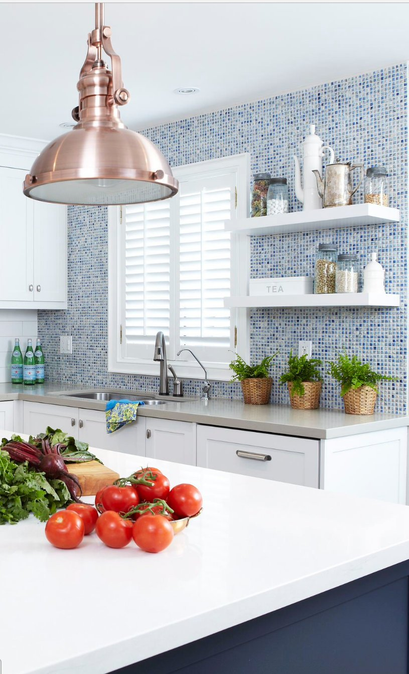 Blue penny kitchen tile on backsplash