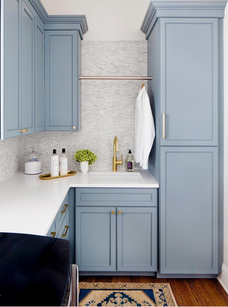 Cabinet Paint Color is Benjamin Moore Van Courtland Blue