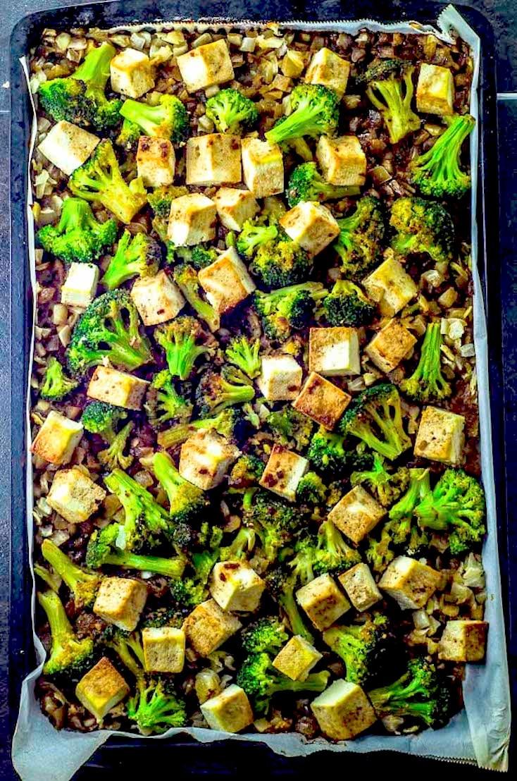 Sesame Teriyaki Tofu and Roasted Broccoli Sheet Pan Dinner