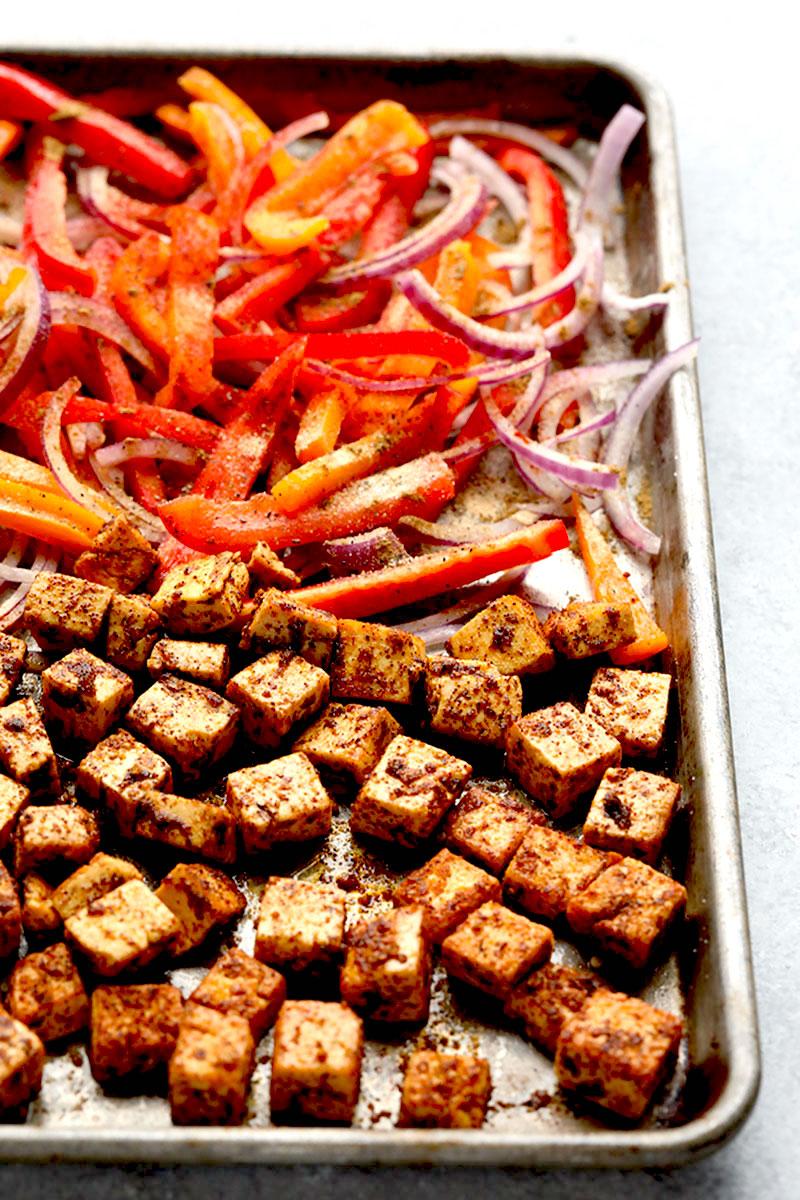 Sheet Pan Meal-Prep Tofu Quinoa Burrito Bowls