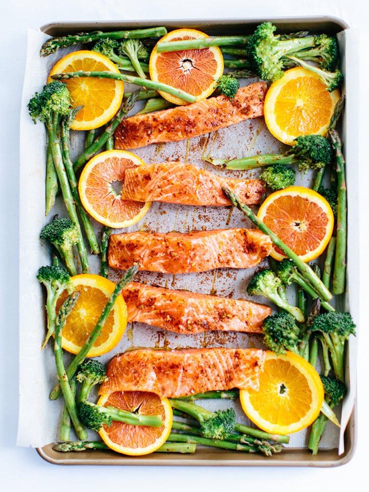 Sheet Pan Roasted Chili-Orange Salmon with Garlic and Green Veggies