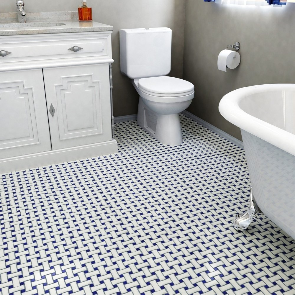 Navy and white Basket Weave Tile