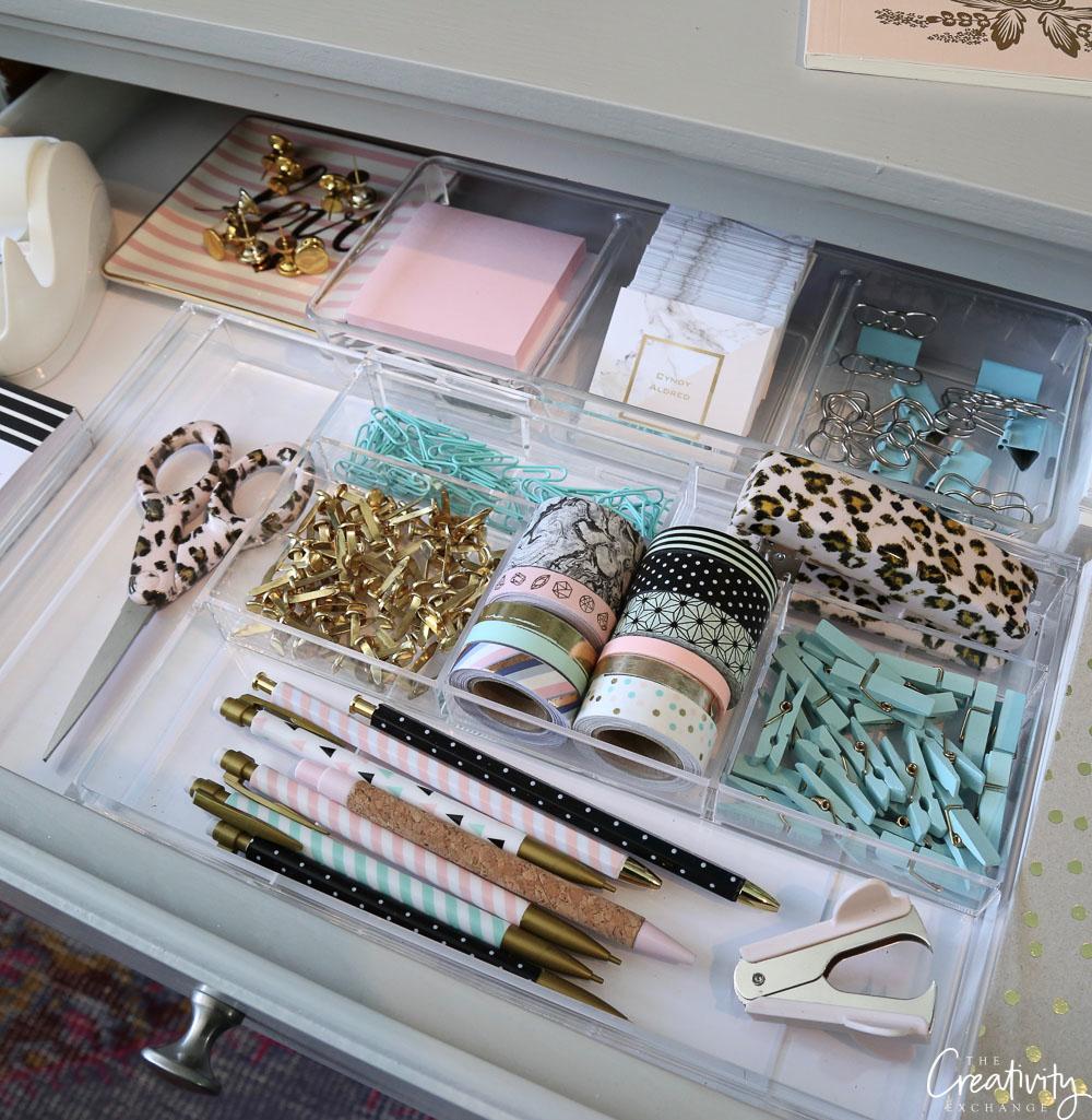 Office desk drawer organizing.