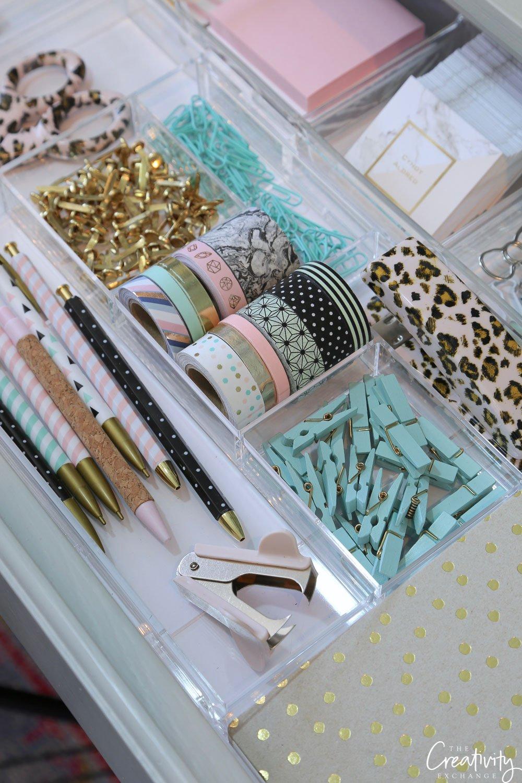 Offce desk drawer organizing.