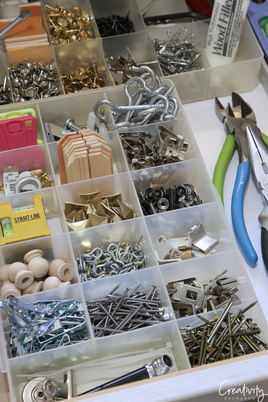 Hardware drawer organizing
