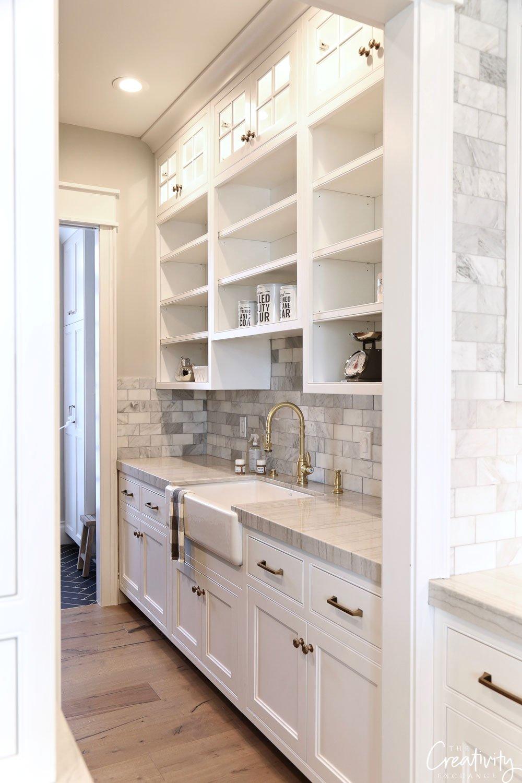 Kitchen pantry area with farmhouse sink