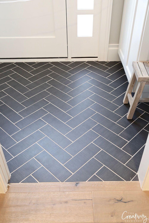 Black slate herringbone floor