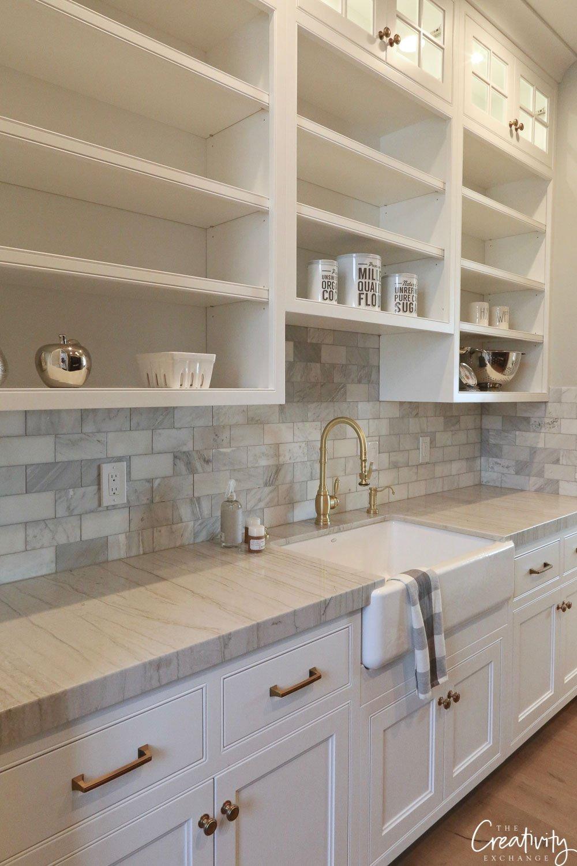 Modern farmhouse pantry with farmhouse sink