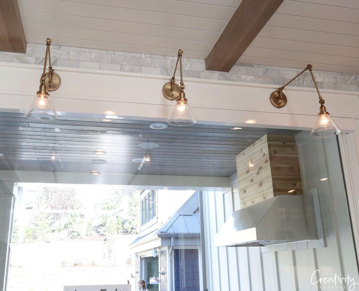 Polished Brass Swing Arm Kitchen Sconces