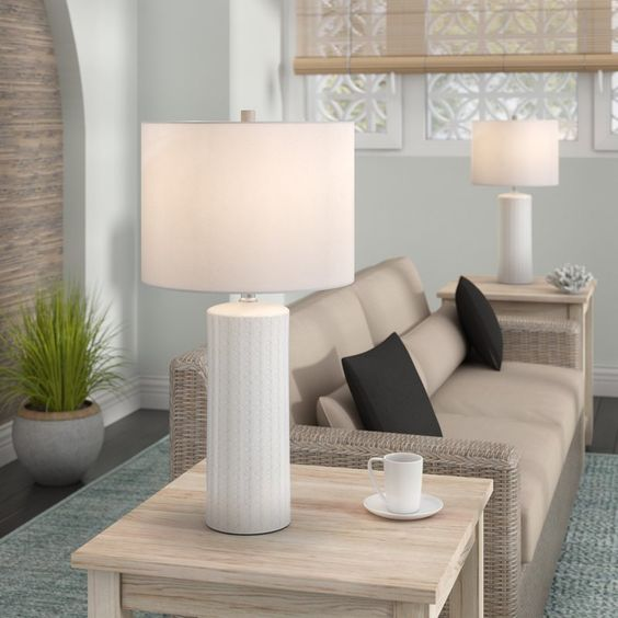 White set of table lamps