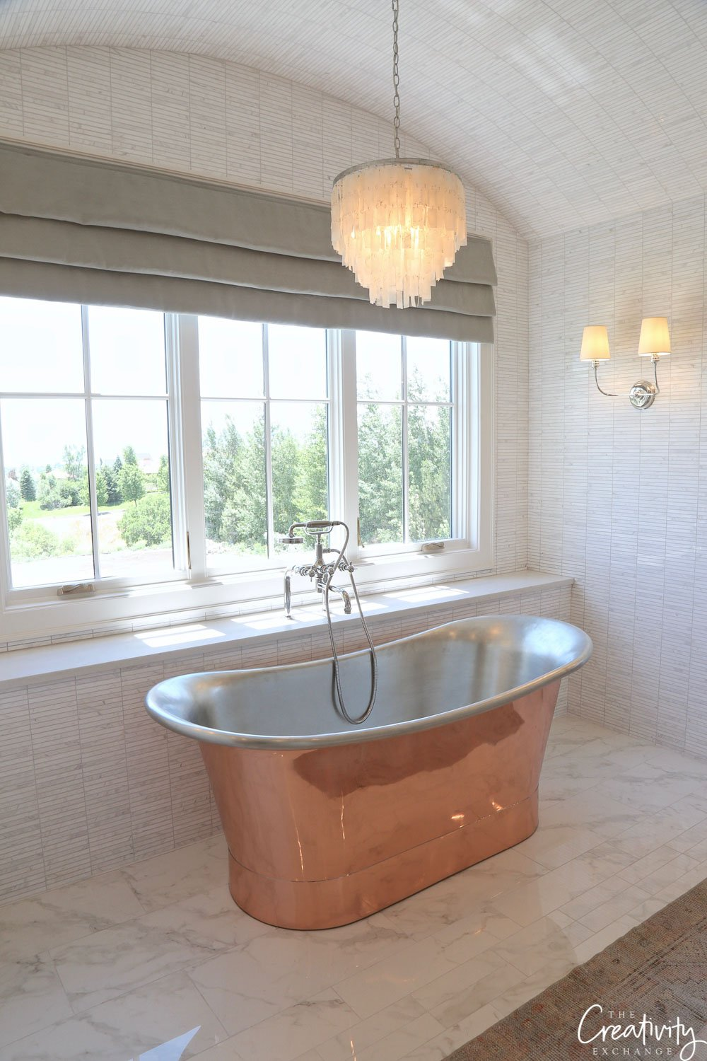 Copper free standing bathtub