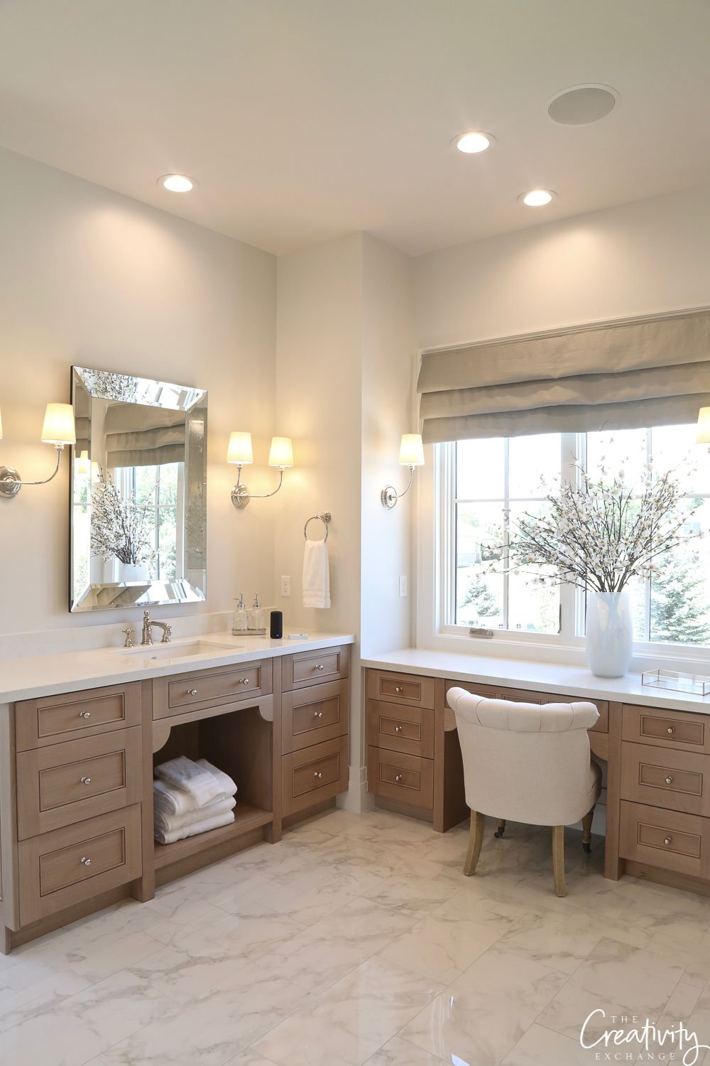 White oak custom bathroom cabinetry