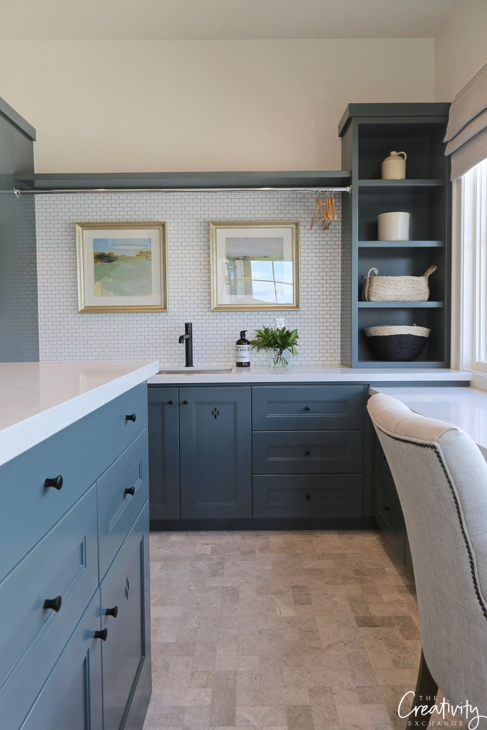 Cabinet paint color is Benjamin Moore Knoxville Gray