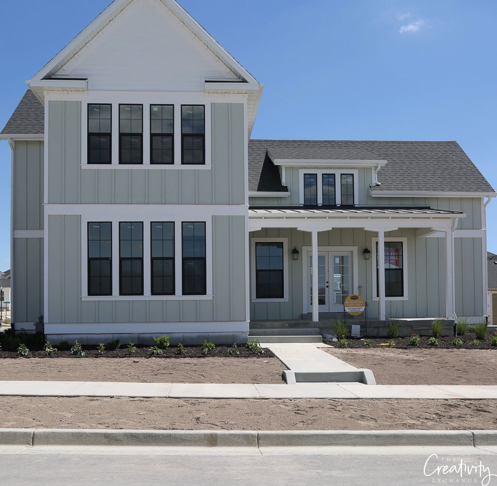 Light blue gray painted home exterior