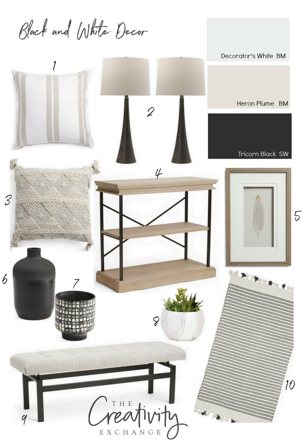 Black and White Knock Off Decor
