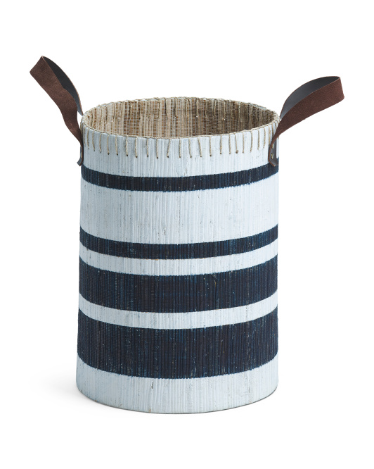 White and navy tall decorative basket