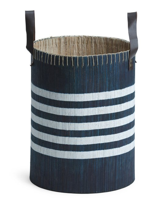 Navy and white striped tall basket.