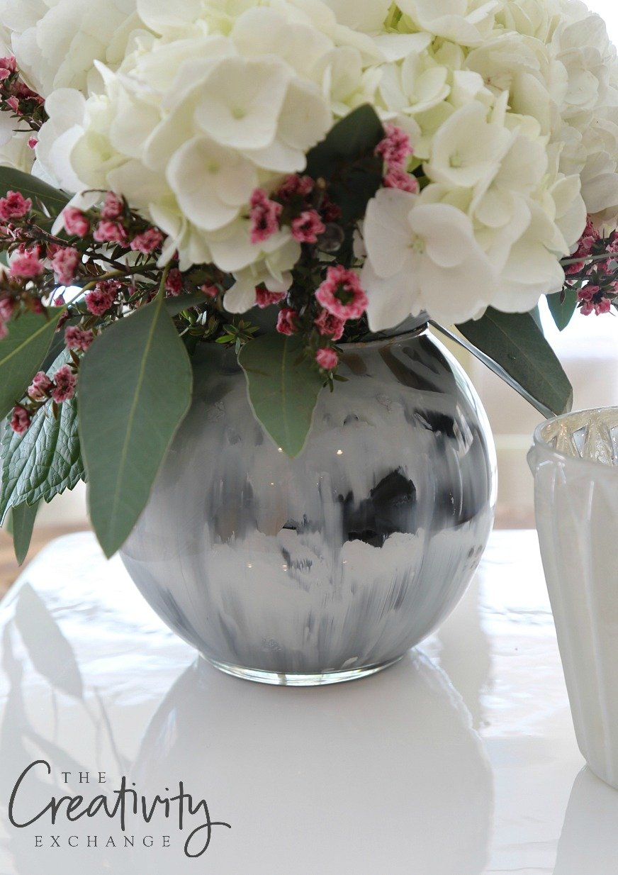 How to create marble paint swirl vases with enamels