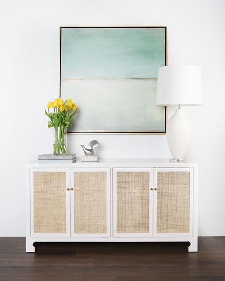 White cane console cabinet