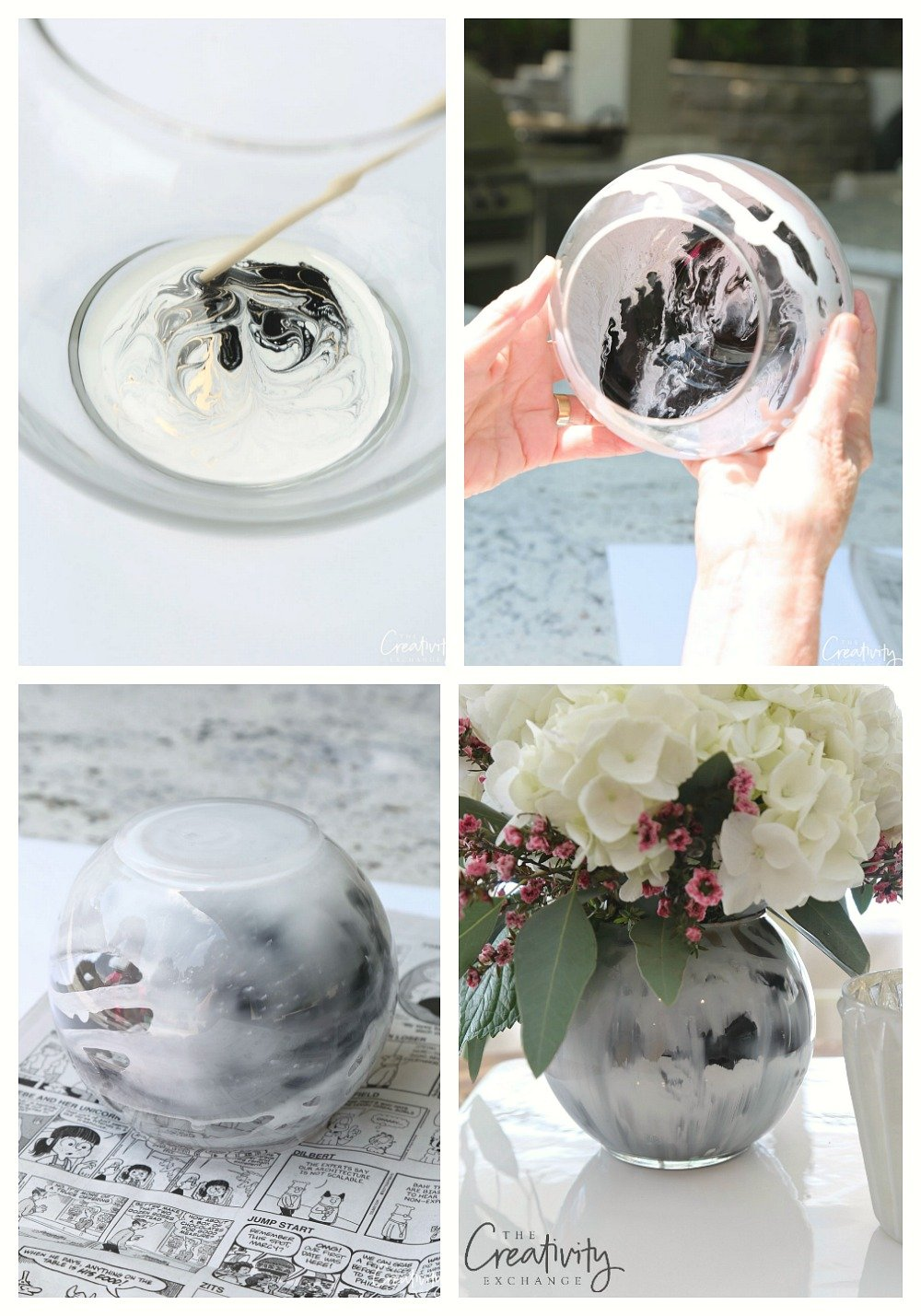 How to make marble swirl vases with enamel paint.
